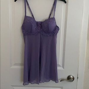 Delicates Sexy Lavender Cami/Slip W/Built in Bra M